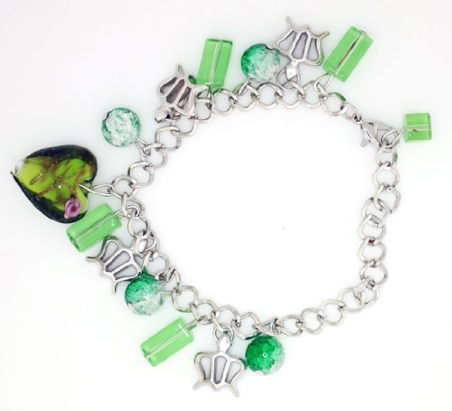 Green Murano Glass Heart & Beads with Crown Charms (Heart Green Murano Glass Beads)