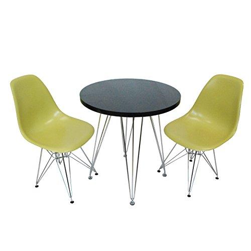 Mod Made Mid Century Modern 3 Piece Paris Tower Dining Set Bistro Set, Black Table/Green (Eames Rectangular Table)