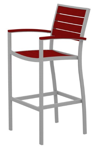 (POLYWOOD A202FASSR Euro Bar Arm Chair, Textured Silver/Sunset Red)