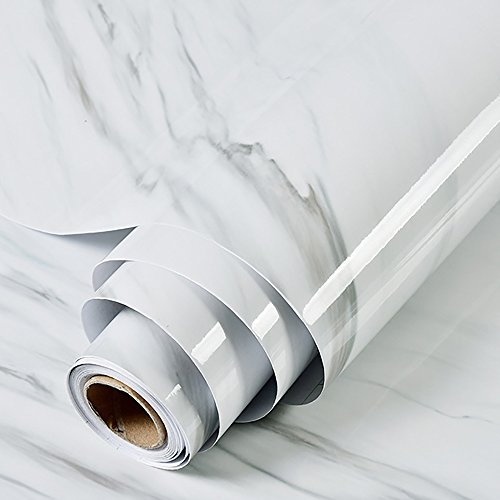 JIWINNER White Black Veined Marble Effect Contact Paper Film Vinyl Self Adhesive Peel-Stick Counter Top Shelf Liner Table and Door Reform (1.31ft X 9.84ft) by JIWINNER