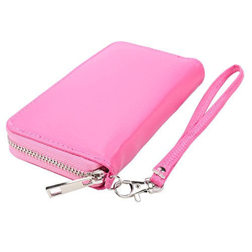 PU Leather Wallet with Zippered 6 Card Slots Phone Holder Portable Purse Perfect for Iphone 6/6s