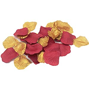 ALLHEARTDESIRES 1000PCS Maroon Burgundy & Gold Artificial Flower Petals Wedding Confetti Table Scatters Centerpieces Bridal Shower Flower Girl Basket Aisle Decoration 8
