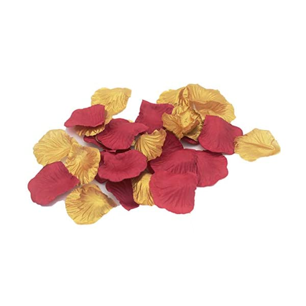 ALLHEARTDESIRES-1000PCS-Maroon-Burgundy-Gold-Artificial-Flower-Petals-Wedding-Confetti-Table-Scatters-Centerpieces-Bridal-Shower-Flower-Girl-Basket-Aisle-Decoration