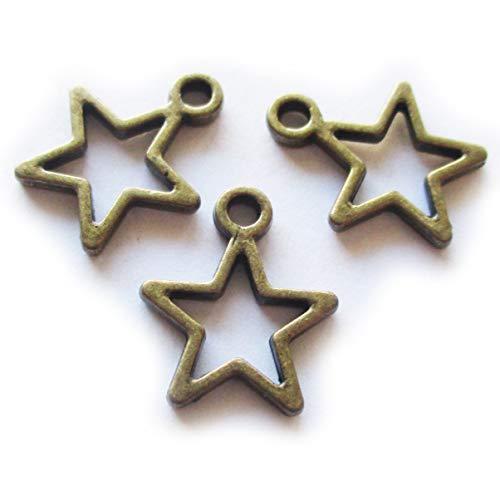 Pull Ends Bail Flower - Heather's cf 166pcs Stars Beads Bronzer Star Pendant for Jewelry Making Pentagram Charm Pendants