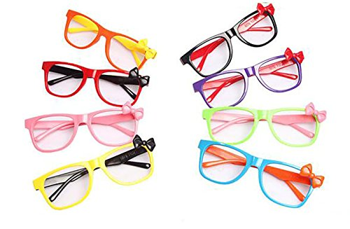 Set of 6 Children Kids Colourful Fashion Cute Bowknot Glasses Frame without Lenses Nerdy Retro Glasses Party - For Glasses Fake Kids Reading