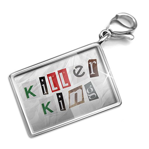 Clip on Charm & Bracelet Set Killer King Ransom Blackmail Letter Lobster Clasp