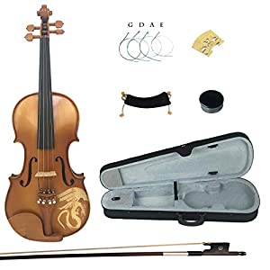 Kinglos 4/4 Dragon Carved Ebony Fitted Solid Wood Violin Kit with Case, Shoulder Rest, Bow, Rosin, Extra Bridge and Strings Full Size (LONG006) 41VwejkxujL