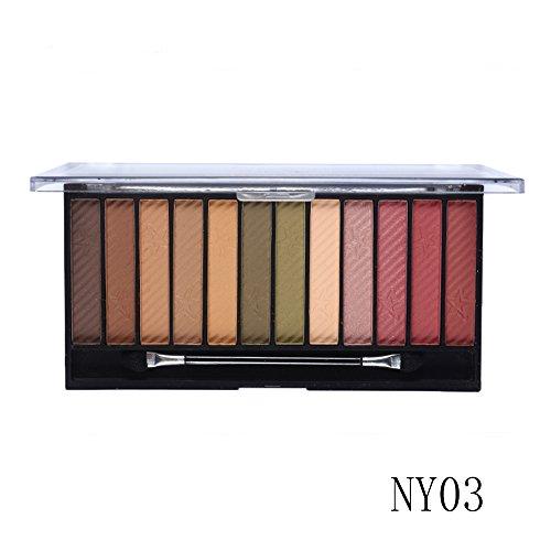 Tmalltide 12 in 1 Eyeshadow Palette Neutral Nude Matte Pigment Cosmetic Makeup Eye Shadow With Brush Palettte tools Kit Set