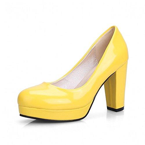Mujer Polka Oficina Redonda US8 Dot amp amp; Carrera Comfort otoño Primavera PU Zapatos sintética Novedad Piel Amarillo UE39 Puntera talón Tacones de Boda y de 5 DIMAOL Chunky Informal para Parte RfZEwxqaf