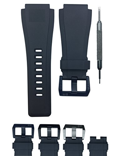 (24mm Black Rubber Watch Band Strap - for Bell & Ross B&R BR-01 BR-03 - Free Spring Bar Tool (Black Buckle))