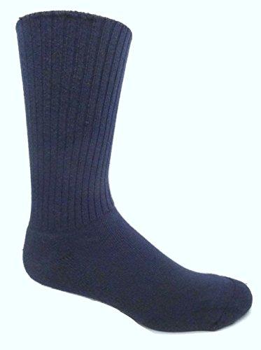 100% Cotton Diabetic Cushion Sole Socks (2 Pair) (Large (8-12 Shoe), Navy)