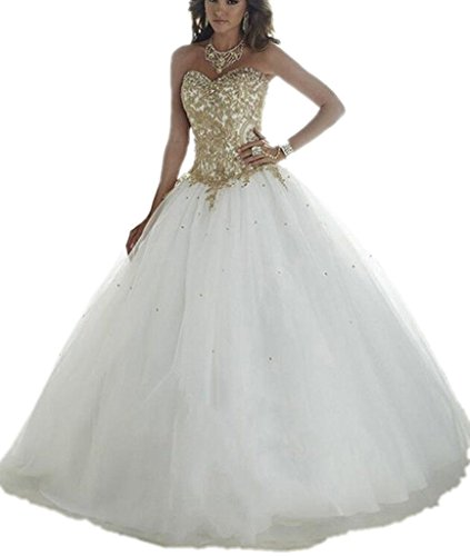 Ivory Sweetheart Neck (APXPF Women's Sweetheart Neck Gold Lace Applique Wedding Dress For Bride Prom Gown Ivory US6)