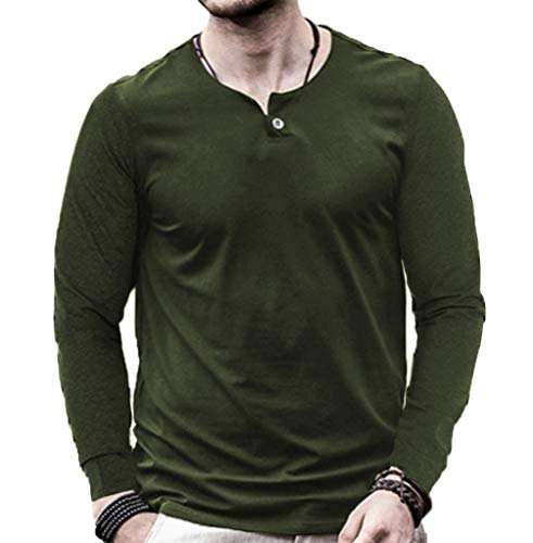 (Aiyino Men's Casual Slim Fit Single Button Long Sleeve Placket Plain Henley Top T Shirts XL-C-Army)