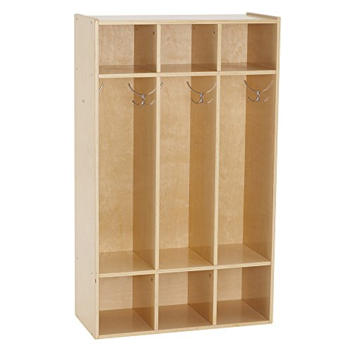 "ECR4Kids Birch Streamline Classroom Locker | Hardwood Coat & Backpack Storage for Kids | 3-Section, Standard (46"" H)"