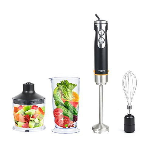 Hand Immersion Blender 4-in-1 Set with Variable 6 speed Control Includes Whisk, 500ml Chopper, BPA-Free 700ml Beaker for Cake, Vegetable, Shakes and Smoothies