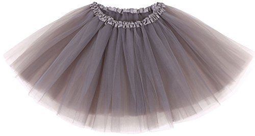 [AshopZ Women's Retro 80s 3 Layered Tulle Ballet Tutu Skirt,Sliver Grey] (1980s Dress)
