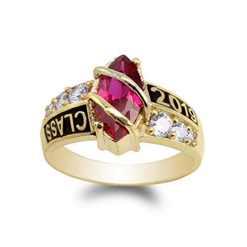 JamesJenny Yellow Gold Plated Class of 2019 1.25ct Red Marquise CZ School Graduation Ring Size 8.5
