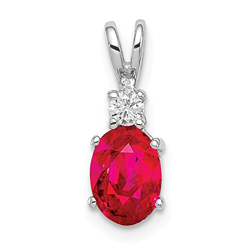 Jewelry Adviser Pendants 14k White Gold 7x5mm Oval Ruby AAA Diamond pendant Diamond quality AAA (SI2 clarity, G-I color)