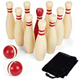 Brybelly Wooden Lawn Bowling Set | Classic Outdoor Lawn Game for Families and Children | Great for Birthday Parties, Picnics, BBQs, and More | Comes with 10 Pins, Two Wooden Balls, and Carry Bag