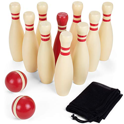 Brybelly Wooden Lawn Bowling Set | Classic Outdoor Lawn Game for Families and Children | Great for Birthday Parties, Picnics, BBQs, and More | Comes with 10 Pins, Two Wooden Balls, and Carry Bag -