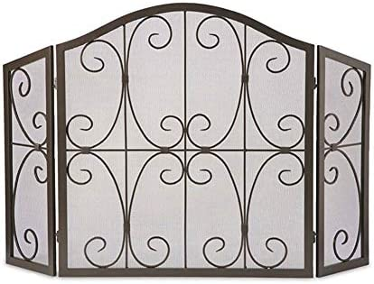 暖炉スクリーン 大型3パネルフラットガード暖炉スクリーン、金属メッシュの錬鉄フレーム、自立ゲートスパークガードカバー、黒仕上げ、31×52in