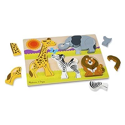 Melissa & Doug Safari Wooden Chunky Jigsaw Puzzle (20 pcs): Game: Toys & Games