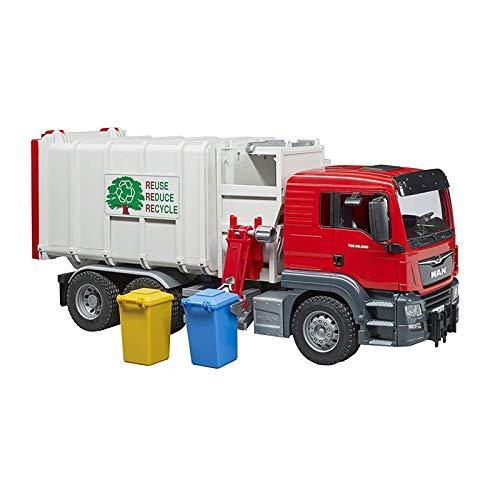 Bruder Garbage Truck - Bruder Toys Man Side Loading Garbage Truck Red