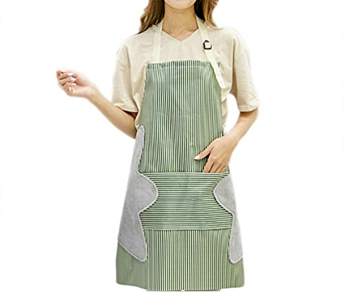 - Women Kitchen Adjustable Bib Apron 2 Towels Stitched with Front Pockets Water Drop Resistant Cooking Strip Apron (Green, 71cmx69 cm)