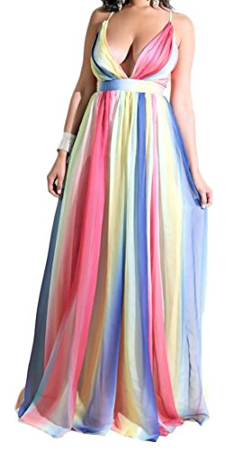 Backless Clubwear Dresses Pink Sexy Elegant Swing V Tie Dyed Maxi Deep Neck amp;H C Womens OzS811