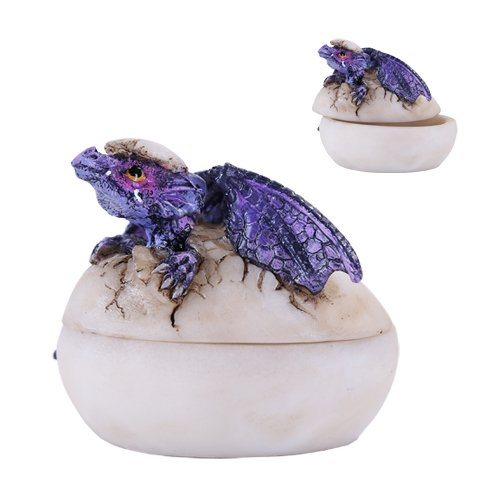 (Purple Midnight Sinister Dragon Hatchling Breaking from Egg Shell Jewelry Box Figurine Myth & Legends Collectible Statue Decor)