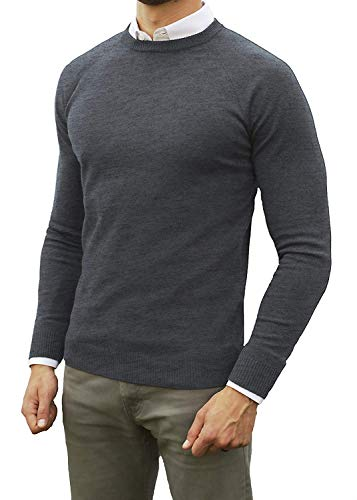 Comfortably Collared Men's Perfect Slim Fit Lightweight Soft Fitted Crew Neck Pullover Sweater