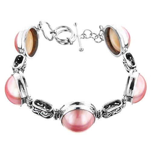 Pink Mabe Cultured Pearl Filigree 925 Sterling Silver Toggle Bracelet, 7-8