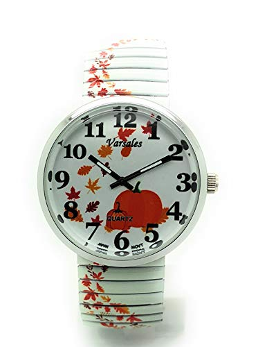 Ladies Novelty Pumpkin Halloween Floral Leaves Elegant Stretch Elastic Band Fashion Watch Versales (Pumpkin -