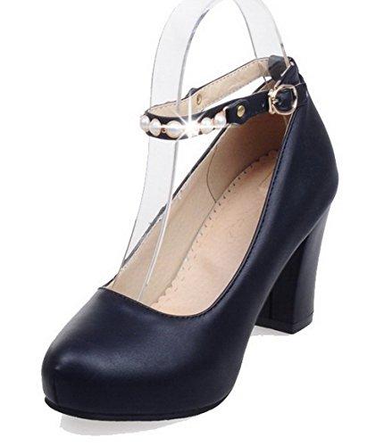 Damen Mittler Absatz Blend-Materialien Rein Schnalle Spitz Zehe Pumps Schuhe, Schwarz, 36 VogueZone009