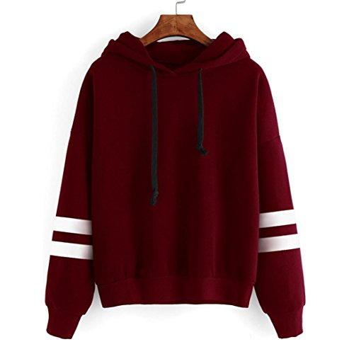 Pullover In Con Da Top Maglione Cuciture Manica Rosso Lunga Pile Jiameng Cappuccio A DonnaManiche Lunghe Felpa uF5JTlKc13