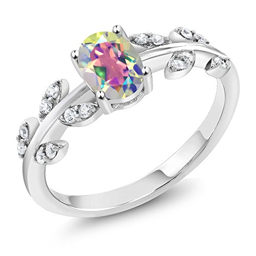 Gem Stone King Sterling Silver Mercury Mist Mystic Topaz Women's Olive Vine Ring (1.01 cttw Oval Available 5,6,7,8,9) (Size 7)