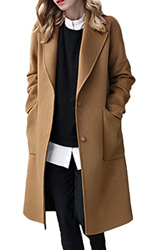 er Casual Solid Lapel Open Front Loose Tweed Coat Outerwear Plus Size Camel S ()