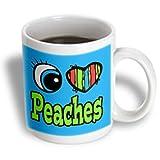 3dRose mug_106364_1 Bright Eye Heart I Love Peaches Ceramic Mug, 11-Ounce