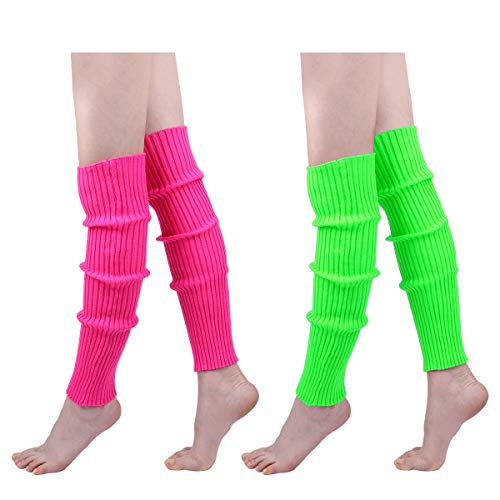 Womens 80s Ribbed Leg Warmers - Juniors 80s Eighty's Knitted Crochet Long Sock Yoga Sport Ballet Accessories]()