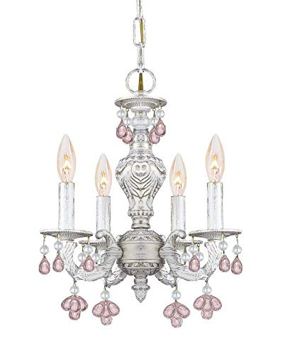 Crystorama 5224-AW-ROSA Crystal Accents Four Light Chandelier from Sutton collection in Whitefinish,