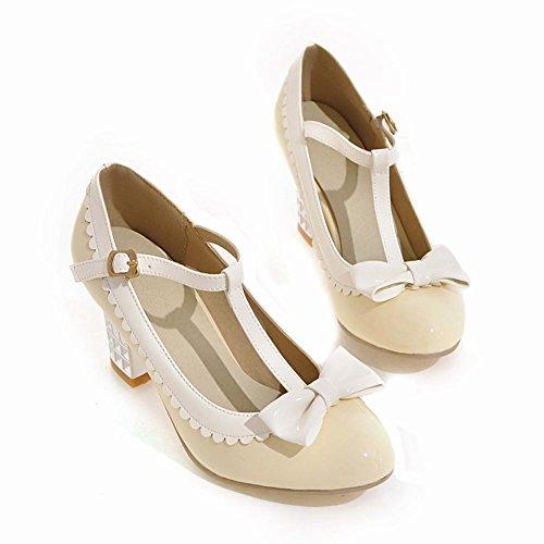 Mee Shoes Damen chunky heels Schleife Schnalle Pumps Beige
