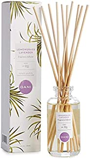 Natural Reed Diffuser Set by DANI Naturals - Calming Lemongrass Lavender Scented - Aromatherapy Essentials Oil