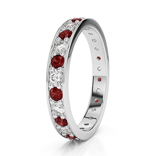 Or blanc 18 carats 0,38 CT G-H/VS sertie de diamants ronds Cut Grenat et éternité Bague Agdr-1080