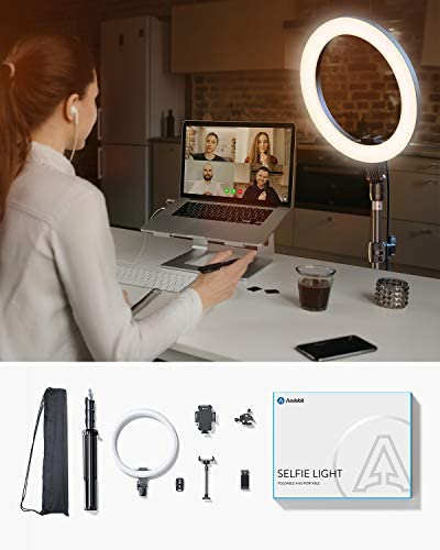 "Andobil 12"" Selfie Ring Light with 67"" Tripod Stand & 2 Flexible Phone Holder, Bluetooth Remote Shutter for Video Recording & Live Streaming & Zoom Meeting, Compatible with Phones and Cameras"