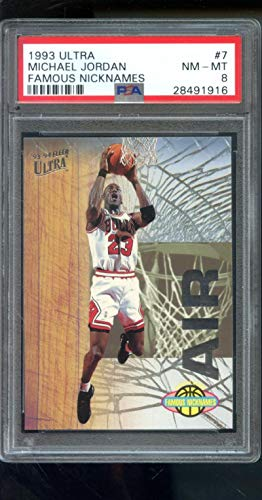 1993-94 Fleer Ultra Famous Nicknames Air #7 Michael Jordan Insert PSA 8 Graded NBA Basketball Card