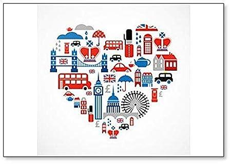 Imán para nevera, diseño de corazón con iconos y símbolos ingleses ...