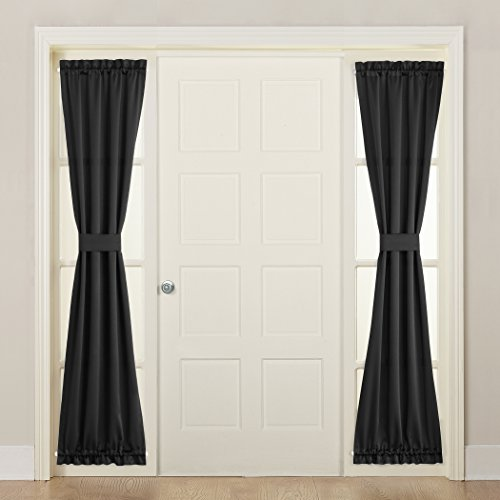 Sun Zero Barrow Front Door Sidelight Curtain Panel with Tie Back, 26 x 72 , Black