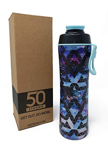 50 Strong BPA Free Gym Water Bottle with Ice Guard Flip Top Cap & Carry Loop - Cute Designer Prints - Perfect for Men, Women, Sports & Workout - 24 oz. - Made in USA (Galaxy Zen, 24 oz.) ()