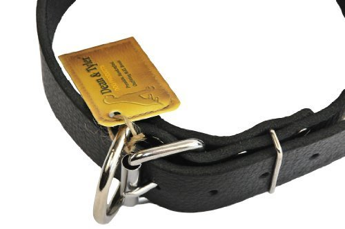 Dean and Tyler  B and B , Basic Leather Dog Collar with Strong Nickel Hardware Black Size 102cm by 4cm Fits Neck 97cm to 107cm