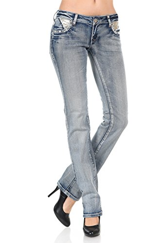 Slim Fit Stretch Denim Straight Leg Jeans (Light Denim, Size 7) ()